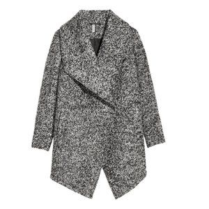 H&M DIVIDED DOUBLE-BREASTED COAT BLACK GRAY